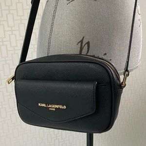 Karl Lagerfeld Paris Black Camera Crossbody Bag